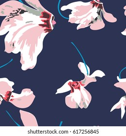 Floral seamless pattern with beautiful pink flowers. Tropical design. Exotic flowers. Pattern for summer fashion prints. Blooming jungle. Dark blue background. Vector illustration. Millefleurs.