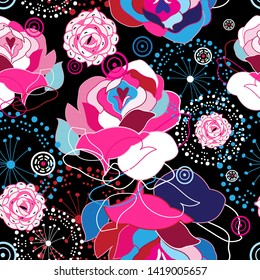 Floral seamless pattern of beautiful roses and abstractions against a dark background