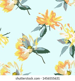 Floral seamless pattern with beautiful vector flower. Flowers Pattern for wrapping paper and summer fashion prints.