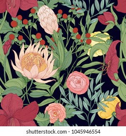 Floral seamless pattern with beautiful wild blooming flowers and herbs hand drawn on black background. Botanical vector illustration in elegant vintage style for fabric print, wrapping paper.
