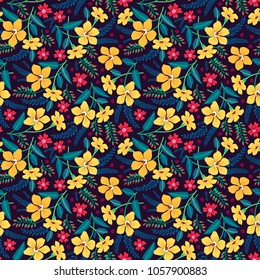 Floral seamless pattern with beautiful yellow and red flowers. Tropical design. Exotic flowers and leaves. Pattern for summer fashion prints. Blooming jungle. Dark background. Vector illustration.