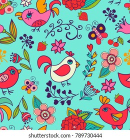Floral seamless pattern with bird. Illustration can be used for cover, business card, background for poster, fabrics, wallpaper, textiles