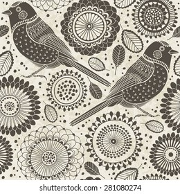 Floral seamless pattern with birds. Cartoon vector background.