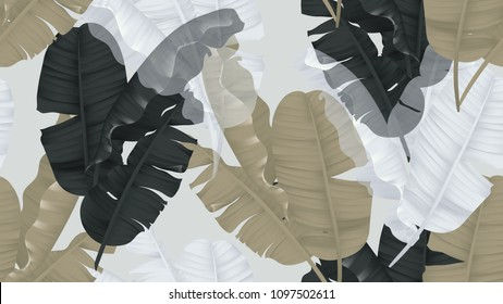 Floral seamless pattern, black, brown and white banana leaves on light gray background, pastel vintage theme