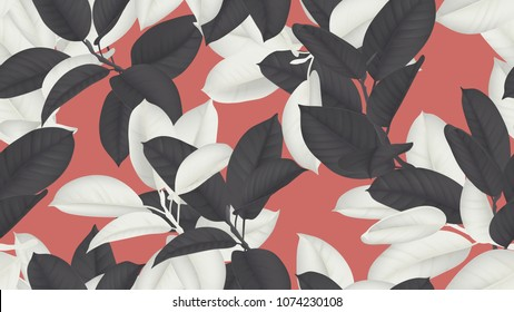 Floral seamless pattern, black and white Ficus Elastica / rubber plant on red background