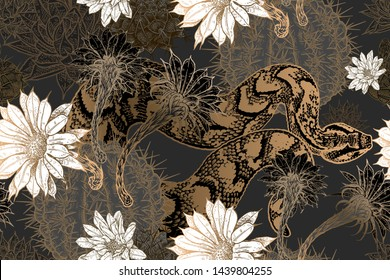 Floral seamless pattern. Blooming cacti and snakes. Print gold foil on black background. Template for fabrics, textiles, wallpaper, paper. Vector illustration art. Exotic luxury nature ornament.