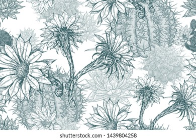 Floral seamless pattern. Blooming cacti. Blu and white background. Template for fabrics, textiles, wallpaper, paper. Vector illustration art. Exotic modern nature ornament.