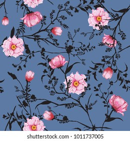 Floral seamless pattern blooming pink watercolor flowers Botanical  Motifs scattered random. Seamless vector texture. Elegant template for fashion prints. Printing with in hand drawn style on blue.