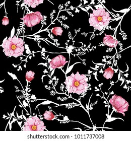 Floral seamless pattern blooming pink watercolor flowers Botanical  with white branch and leaves Seamless vector texture. For fashion prints. Printing with in hand drawn style on black background.