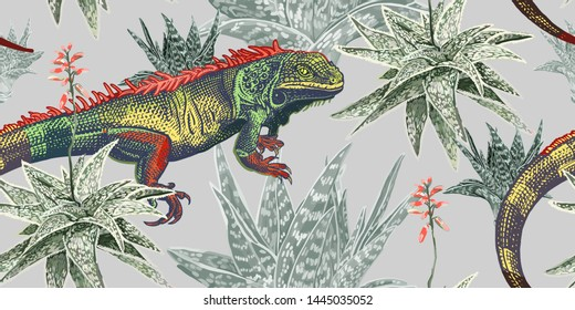 Floral seamless pattern with blooming plants and lizard. Iguana, aloe and cacti. Exotic flowers and reptiles on gray background. Vector illustration. Template for textiles, wallpaper, paper. Vintage.