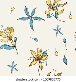 Floral seamless pattern blooming white flowers Botanical  Motifs scattered random. Seamless vector texture. Elegant template for fashion prints. Printing with in hand drawn style on light grey
