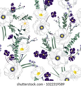 Floral seamless pattern blooming white flowers Botanical  Motifs scattered random. Seamless vector texture. Elegant template for fashion prints. Printing with in hand drawn style on white background.