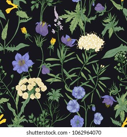 Floral seamless pattern with blooming wild flowers and meadow flowering plants on black background. Romantic floral backdrop. Colorful vector illustration for fabric print, wrapping paper.
