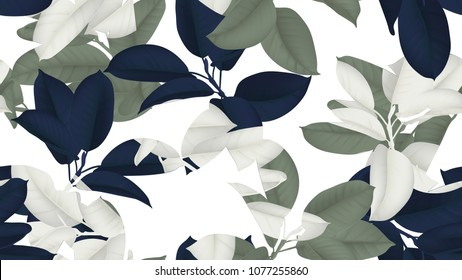 Floral seamless pattern, blue, green and white Ficus Elastica / rubber plant on white background