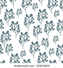 Floral seamless pattern of blue leaves. Hand drawn nature illustration