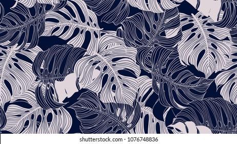 Floral seamless pattern, blue and light pink split-leaf Philodendron plant on blue background, line art ink drawing