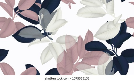 Floral seamless pattern, blue, pink and white Ficus Elastica / rubber plant on white background