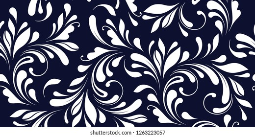 Floral seamless pattern. Blue swirly background for fabric, wrapping, wallpaper and paper. Decorative winter print.