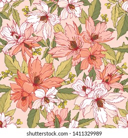 Floral seamless pattern. A bouquet of flowers and leaves of clematis