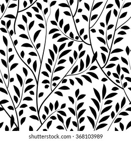 Floral seamless pattern. Branch with leaves tiled garden vector illustration. Nature background