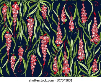 Floral seamless pattern.  Brightly-colored stock vector illustration.