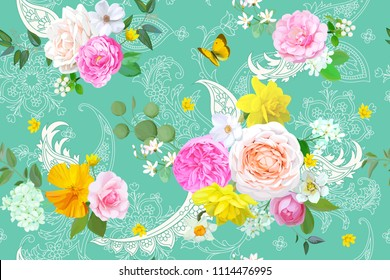 Floral seamless pattern with butterfly