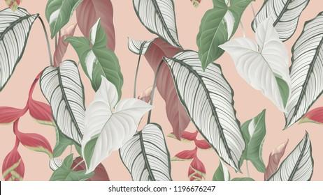 Floral seamless pattern, Calathea ornata, Syngonium podophyllum albo-variegatum and Heliconia rostrata flowers on light orange background, pastel vintage theme