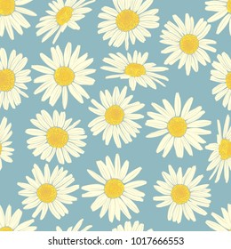 Floral seamless pattern with camomile. Cute white flowers. Summer concept. Design element for textile, fabrics, scrapbooking, wallpaper and etc. Vector illustration.
