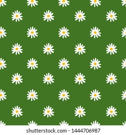 Floral seamless pattern. Chamomile. Vector flowers. Fashion print. Design for textile or clothes. Hand drawn repeating elements. Natural background