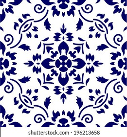 Floral seamless pattern from China or Japan, symmetrical ornament, vector