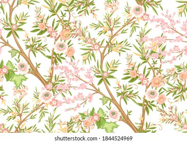 Floral seamless pattern in chinoiserie style. Vector illustration.