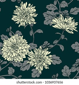Floral seamless pattern with chrysanthemum