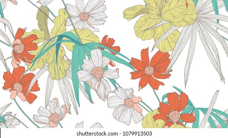 Floral seamless pattern, colorful fiddle leaf fig, palm leaves and cosmos flowers on white background, line art ink drawing