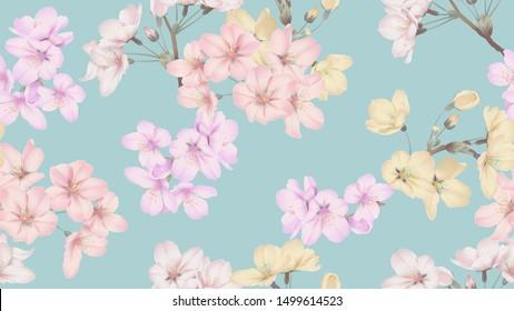 Floral seamless pattern, colorful Somei Yoshino sakura flowers on blue