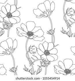Floral seamless pattern with cosmos flowers.Vector sketch of blooming flowers.Blooming forest flowers , detailed hand drawn vector illustration.