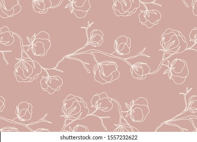 Floral seamless pattern with cotton blossom flowers, endless texture, ink sketch art. Vector illustration for wedding invitations, wallpaper, textile, wrapping paper