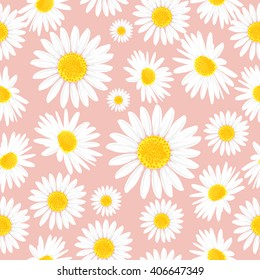 Floral seamless pattern with daisies flowers. Vector background.