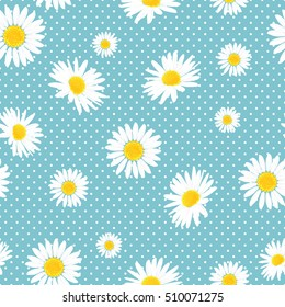 Floral seamless pattern with daisies flowers and dots. Vector background.
