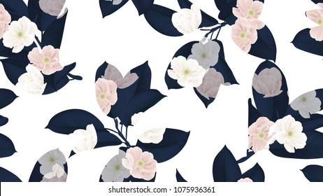 Floral seamless pattern, dark blue Ficus Elastica / rubber plant and pink anemone flowers on white background