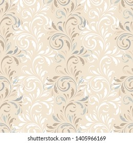 Floral seamless pattern. Delicatel texture for fabric, wrapping, wallpaper and paper. Ornamental flowery background. Decorative ornament. Silk texture.