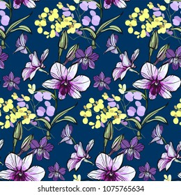 Floral seamless pattern with different flowers and leaves. Botanical illustration on navy blue, hand painted. Textile print, fabric swatch, wrapping paper.