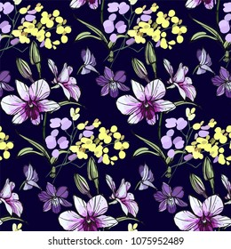 Floral seamless pattern with different flowers and leaves. Botanical illustration o black background, hand painted. Textile print, fabric swatch, wrapping paper.