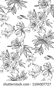 Floral seamless pattern with different flowers and tropical leaves. Botanical illustration  hand painted. Textile print, fabric swatch, wrapping paper.