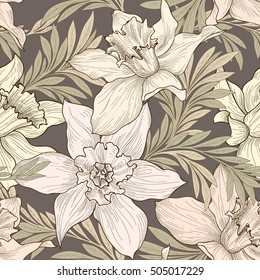 Floral seamless pattern, doodle background, engraving texture with flowers. Flourish sketch tiled wallpaper