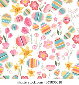 Floral seamless pattern with eggs, birds and stylized flowers. Endless texture for spring design, decoration,  greeting cards, posters,  invitations, advertisement.