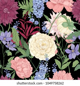 Floral seamless pattern with elegant flowers and flowering plants used in floristry hand drawn on black background. Natural vector illustration in vintage style for fabric print, wrapping paper
