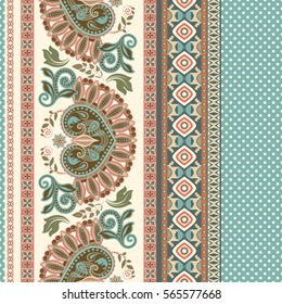 Floral seamless pattern. Ethnic border ornament.  Egyptian, Greek, Roman style. Can be used for greeting business card background, coloring book, backdrop, textile, web, wrapping paper