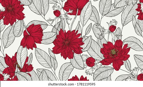 Floral seamless pattern, eucalyptus leaves and anemone flowers line art ink drawing in red and dark grey