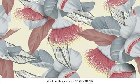 Floral seamless pattern, Eucalyptus rhodantha flowers or rose mallee and Calathea ornata on light yellow, pastel vintage theme