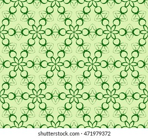 Floral seamless pattern in execution. Vector. Green color. For holiday cards design, fashion design, interior design, graphic arts
